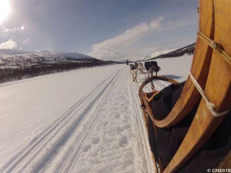 Auf zugefrorenem Fluss unterwegs